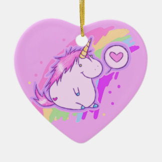 Unicorn Love Ceramic Ornament