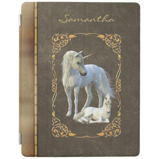 Unicorn Lover Leather Book look Bronze iPad Smart Cover