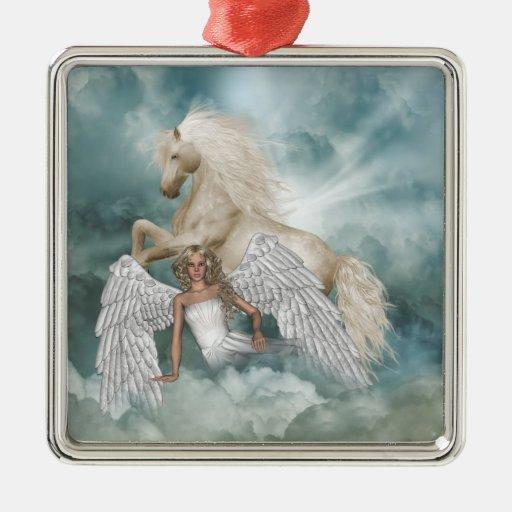 Unicorn Magic Angel Ornament Silver-Colored Square Ornament