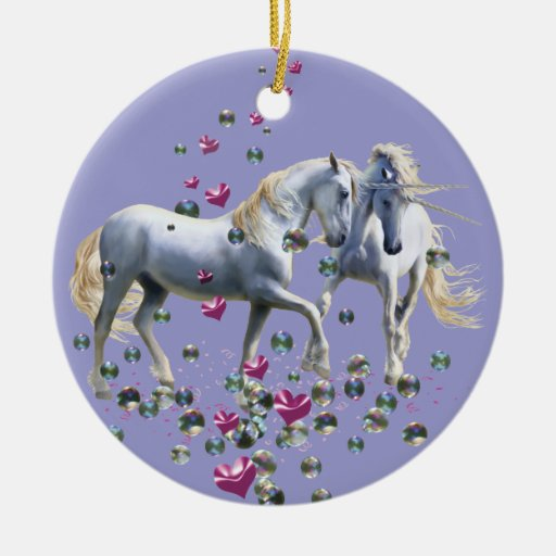 Unicorn Magic Double-sided Ceramic Round Christmas Ornament
