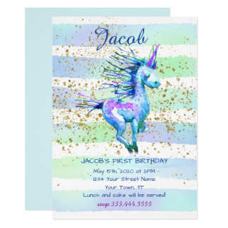 Unicorn Magic Watercolor Boy First Birthday Party Card