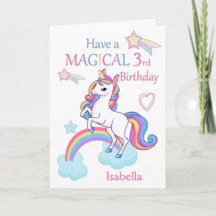Unicorn Magical 3rd Birthday Pink Card