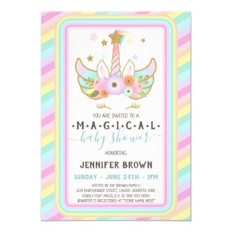 Unicorn Magical baby girl shower invitation