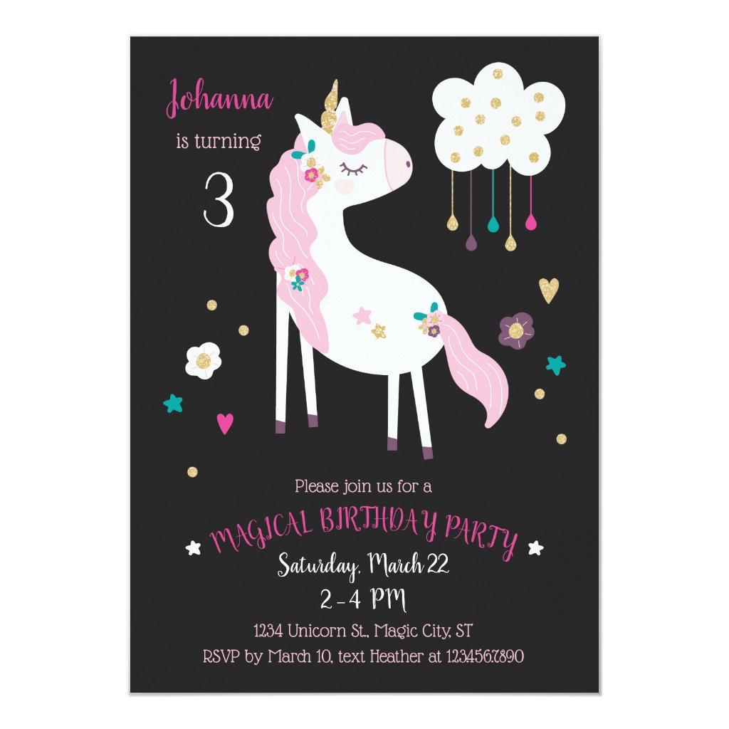 Unicorn Magical Birthday Party Invitation