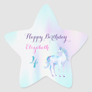 Unicorn Magical Rainbow Lavender Pink Turquoise Star Sticker