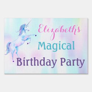 Unicorn Magical Rainbow Lavender Pink Turquoise Yard Sign