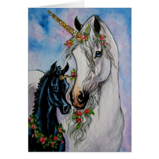 Unicorn Mare and Foal Card