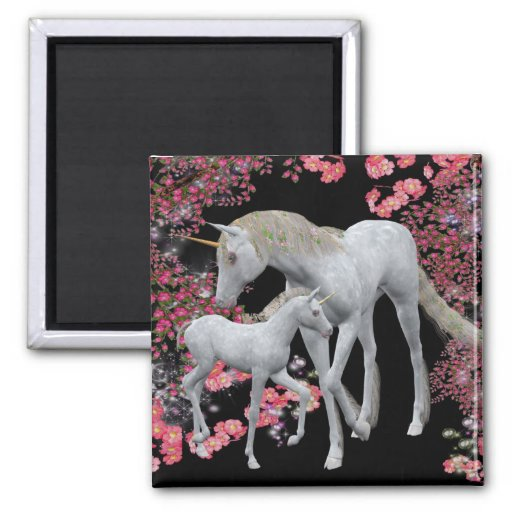 Unicorn Mare And Foal Fantasy Magnet