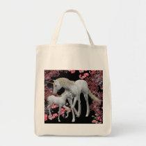 Unicorn Mare And Foal Fantasy Tote Bag