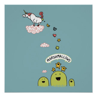 Unicorn Marshmallows Poster