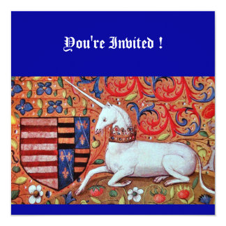 UNICORN MEDIEVAL FANTASY FLOWERS,RED BLUE FLORAL CARD