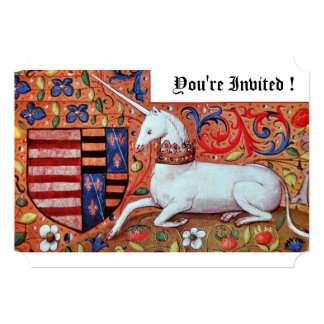 UNICORN MEDIEVAL FANTASY FLOWERS,RED WHITE FLORAL CARD