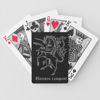 Unicorn medieval heraldry contour bicycle playing cards