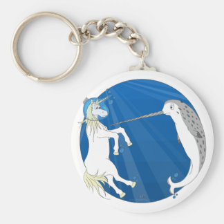 Unicorn Meets Narwhal Basic Round Button Keychain