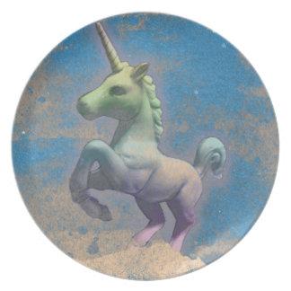 Unicorn Melamine Plate (Sandy Blue)