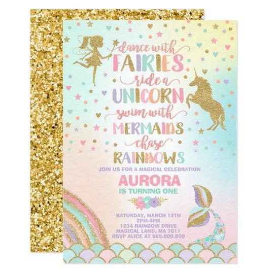 unicorn mermaid and fairy birthday invitation