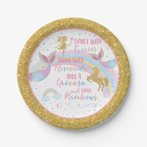 Unicorn Mermaid Fairy Birthday Party Paper Plates