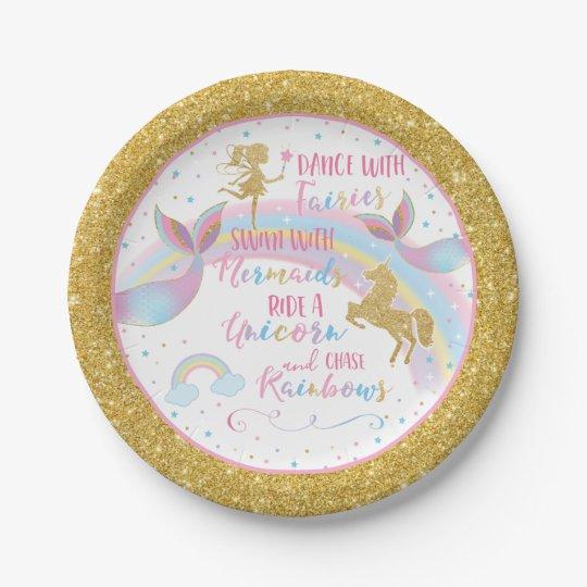 Unicorn Mermaid Fairy Birthday Party Paper Plates