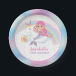"Unicorn Mermaid Pool Birthday Party Paper Plates<br><div class=""desc"">Unicorn Mermaid Pool Birthday Party Paper Plates</div>"