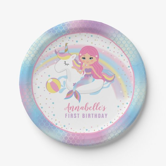 Unicorn Mermaid Pool Birthday Party Paper Plates | Zazzle.com