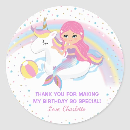 Unicorn Mermaid Pool Birthday Stickers
