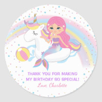 Unicorn Mermaid Pool Birthday Stickers