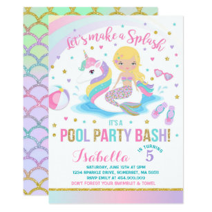 Mermaid Pool Party Invitations Announcements Zazzle