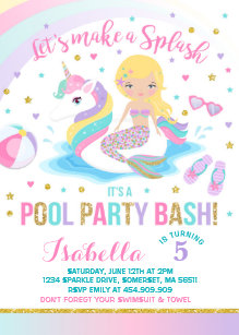 Mermaid birthday invitations announcements zazzle unicorn mermaid pool party birthday invitation filmwisefo