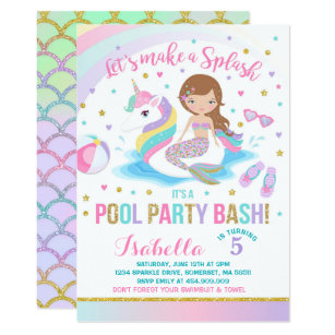 Mermaid invitations 400 mermaid announcements invites unicorn mermaid pool party birthday invitation filmwisefo