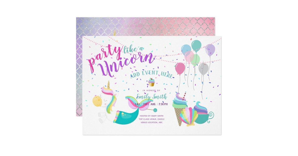 Unicorn Mermaid Princess Birthday Invitations Zazzle