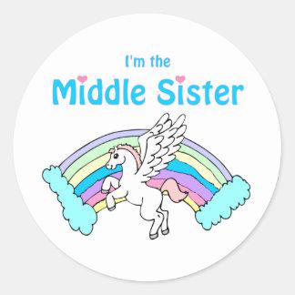 unicorn middle sister classic round sticker