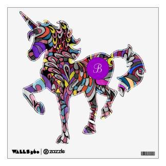 Unicorn Monogram Fantasy Bright Purple Wall Decal