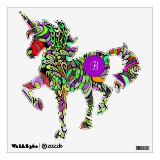 Unicorn Monogram Fantasy Bright Techno Wall Decal