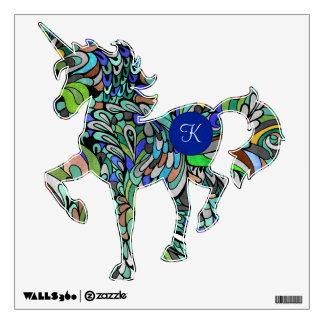 Unicorn Monogram Fantasy Funky Paisley Wall Decal