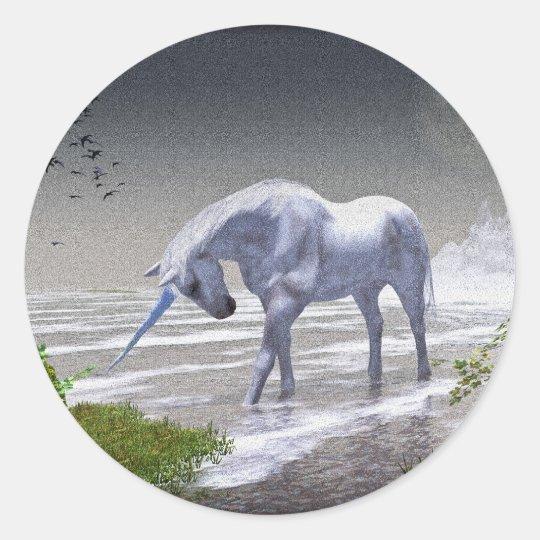 Unicorn Moon Classic Round Sticker