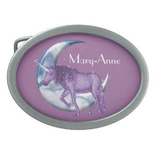 Unicorn Moon Oval Belt Buckle