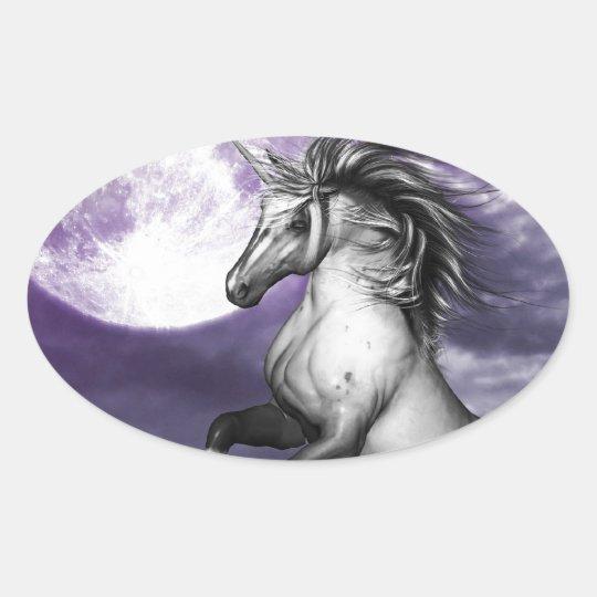 Unicorn Moon Oval Sticker
