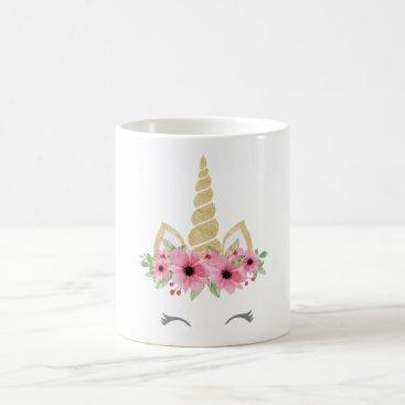 Coffee Themed Unicorn Mug, Glitter Unicorn Mug, Floral Unicorn Coffee Mug