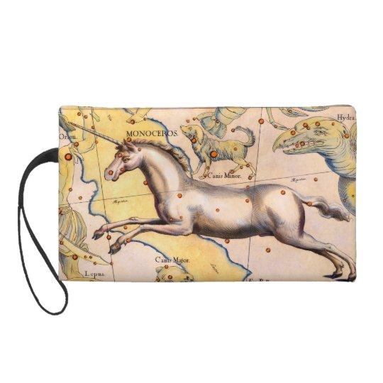 Unicorn Mythology Star Map Vintage Art Designer Wristlet