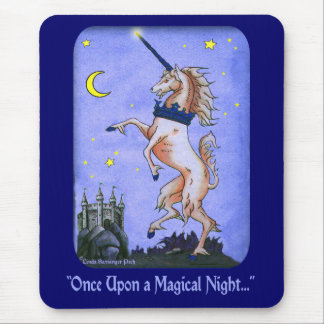 Unicorn Night Castle Art Mouse Pad