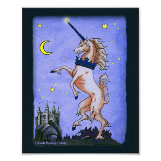 Unicorn Night Dark Blue Borders Poster