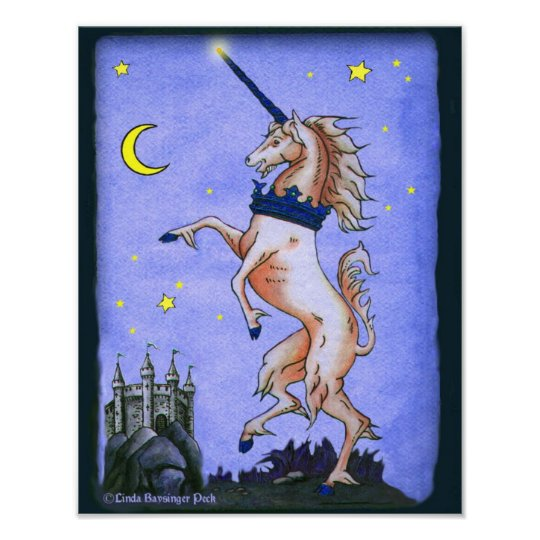 Unicorn Night Illustration Poster