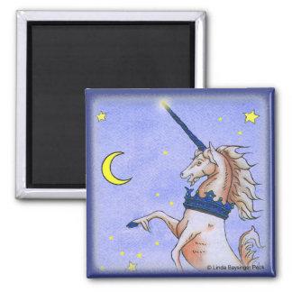 Unicorn Night Painting 2 Inch Square Magnet