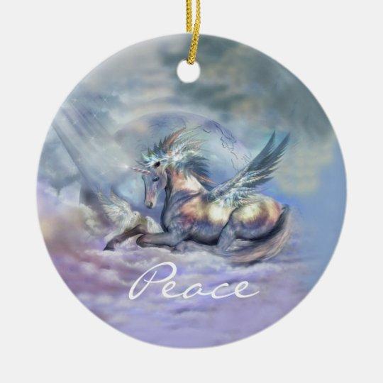 Unicorn Of Peace Holiday Ornament