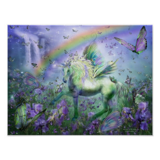 Unicorn Of The Butterflies Art Mural/Print Poster