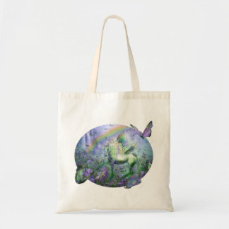 Unicorn Of The Butterflies Budget Tote Canvas Bags