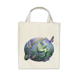 Unicorn Of The Butterflies Organic Grocery Tote Tote Bags