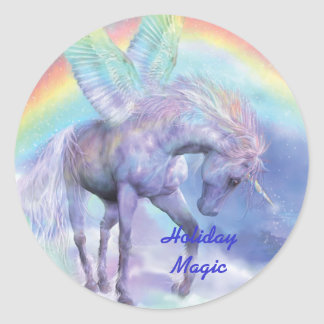 Unicorn Of The Rainbow Holiday Art Sticker