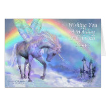 Unicorn Of The Rainbow Holiday Card