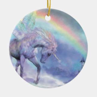 Unicorn Of The Rainbow Holiday Ornament